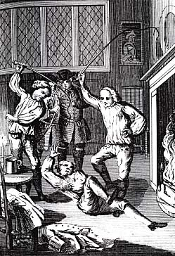 Smugglers whipping Richard Hawkins to death