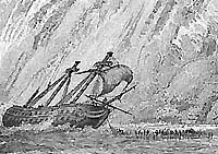 Engraving of wreckers at work at Beachey Head