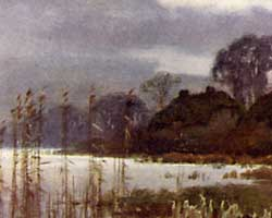Watercolour painting of Beaulieu mill pond by Ernest W Haslehust
