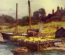 Watercolour painting of Buckler's Hard by Ernest W Haslehust