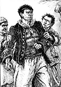 Engraving of Harry Carter in a French prison. Illustration by Paul Hardy