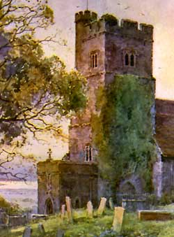 Watercolour painting of Chalk Church by Ernest W Haslehust