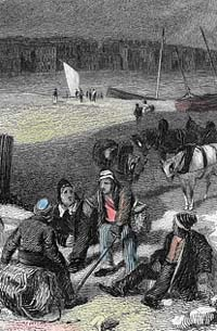 Engraving of smugglers on Dover beach