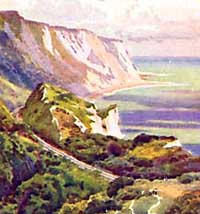 Watercolour painting of Folkestone Warren by Ernest W Haslehust