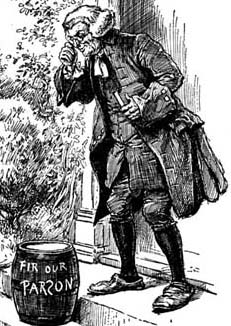 Engraving by Paul Hardy of a parson finding a smuggled tub on his doorstep