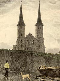 Engraving of Reculver church