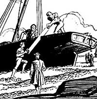 Customs men saw a smuggler's ship in half. Illustration by Jack Matthew