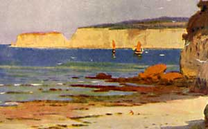 Watercolour of Studland Bay by Ernest W Haslehust