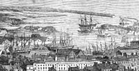 Engraving of Swansea harbour