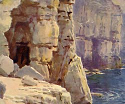 Watercolour of  Tilly Whim Caves by Ernest W Haslehust
