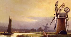 Watercolour painting of windmills on the Norfolk Broads by Ernest W Haslehust
