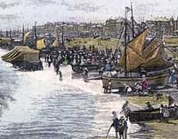 Engraving of the beach at Yarmouth