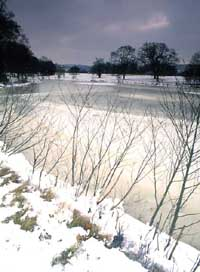 Photograph of the frozen lake at Parham Park